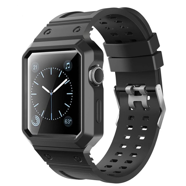 super popular dd62e 5483c US $8.16 29% OFF|Watch Band for Apple Watch 42/38mm TPU Waterproof Rubber  Wrist Bracelet with Protective Case Frame For Apple Watch Series 3 2 1-in  ...