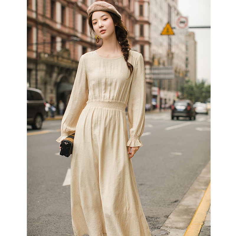 INMAN Elastic Solid Color O Neck Loose Style Spring Autumn Long Sleeve Fashion Artistic Lady Dress