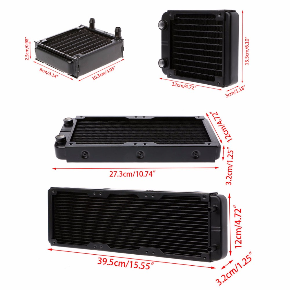 1 Pc 80/120/240/360mm de aluminio ordenador del radiador de agua de refrigeración para CPU GPU VGA RAM disipador de calor intercambiador líquido refrigerador