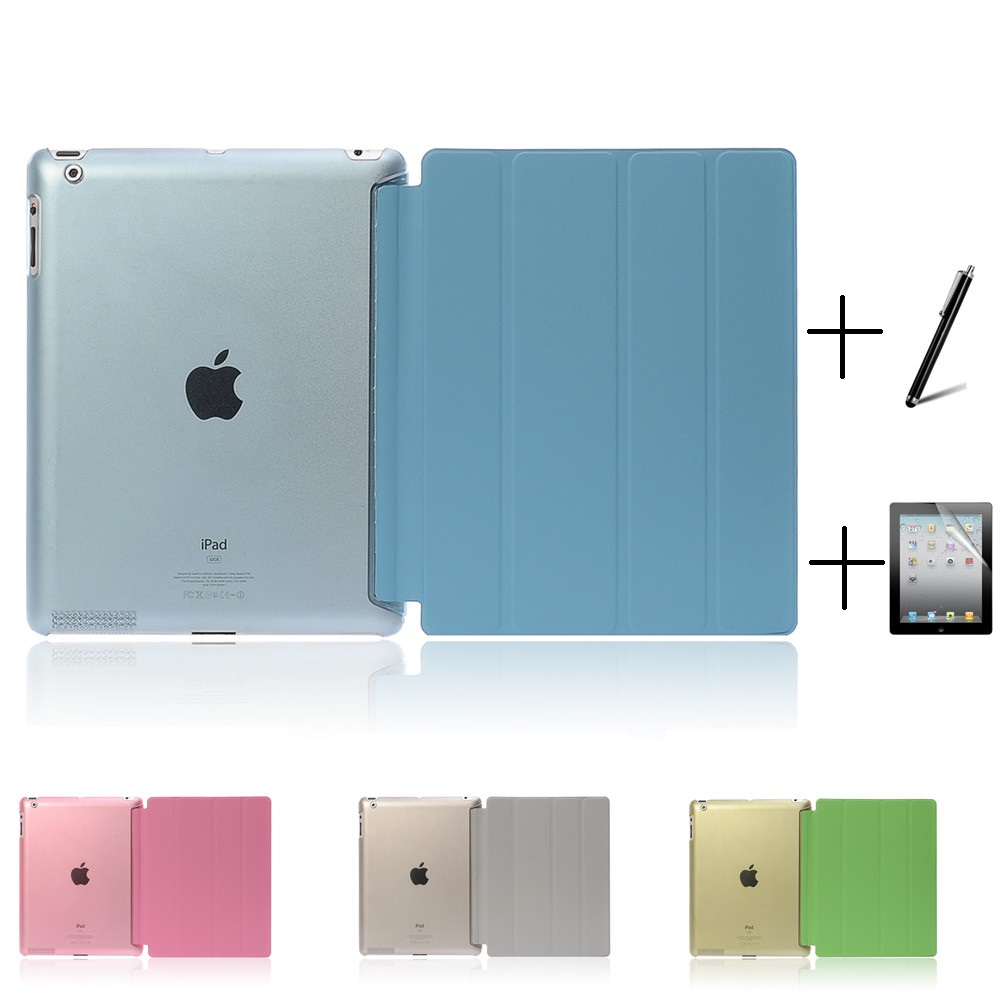Ultra Slim Four Fold PU Leather with Crystal Hard Back Smart Stand Case Cover for iPad 2 iPad 3 iPad 4 Mini 1 2 3 smart case for ipad mini 4 case transformer folding with stand slim pu leather transparent back cover for ipad mini4 7 9
