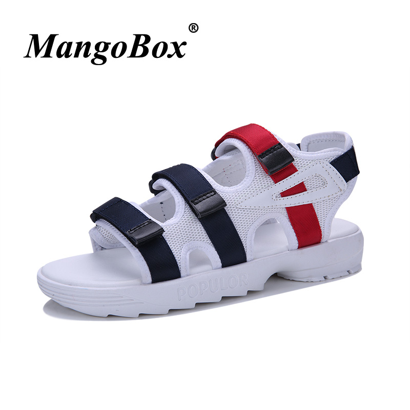 2018 Original Beach Sandals For Men White Black Trekking Sandals Mesh Breathable Walking Shoe Men Youth Casual Footwear Discount