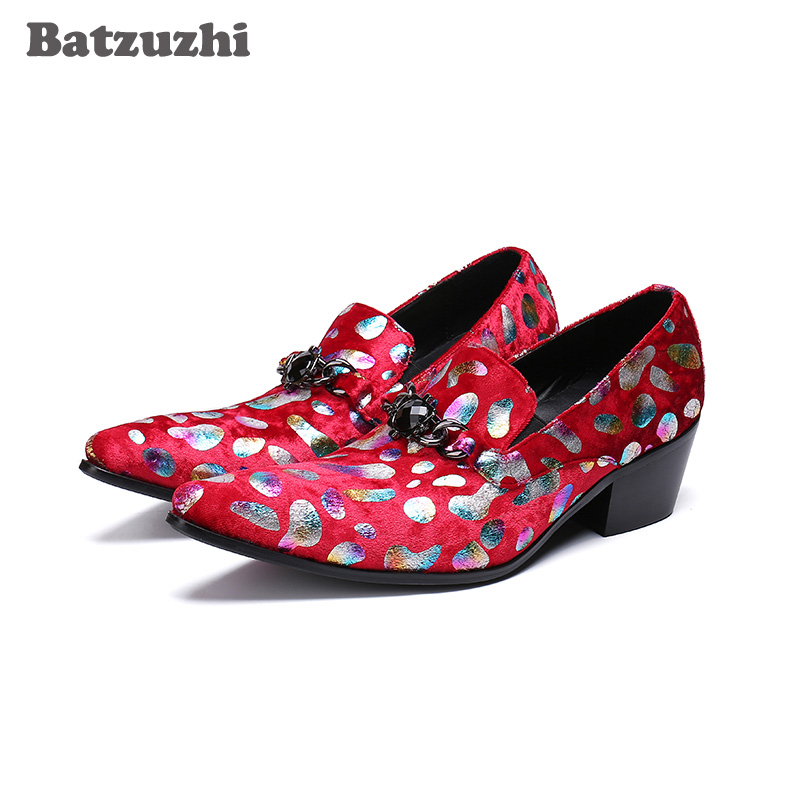 Batzuzhi Luxury Handmade Mens Shoes Pointed Toe Red Leather Dress Shoes for Men 6.5cm Heels Business, Party, Wedding Shoes Men ntparker wine red high heels men dress shoes leather fashion business leather shoes handmade wedding shoes for men 38 46 big