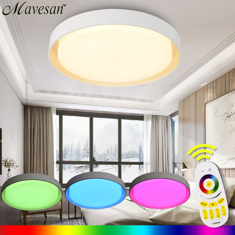 New LED lighting fixtures sitting room With RGB controler Remote 36W LED modern ceiling light Lamp plafoniere balkon for home black and white round lamp modern led light remote control dimmer ceiling lighting home fixtures