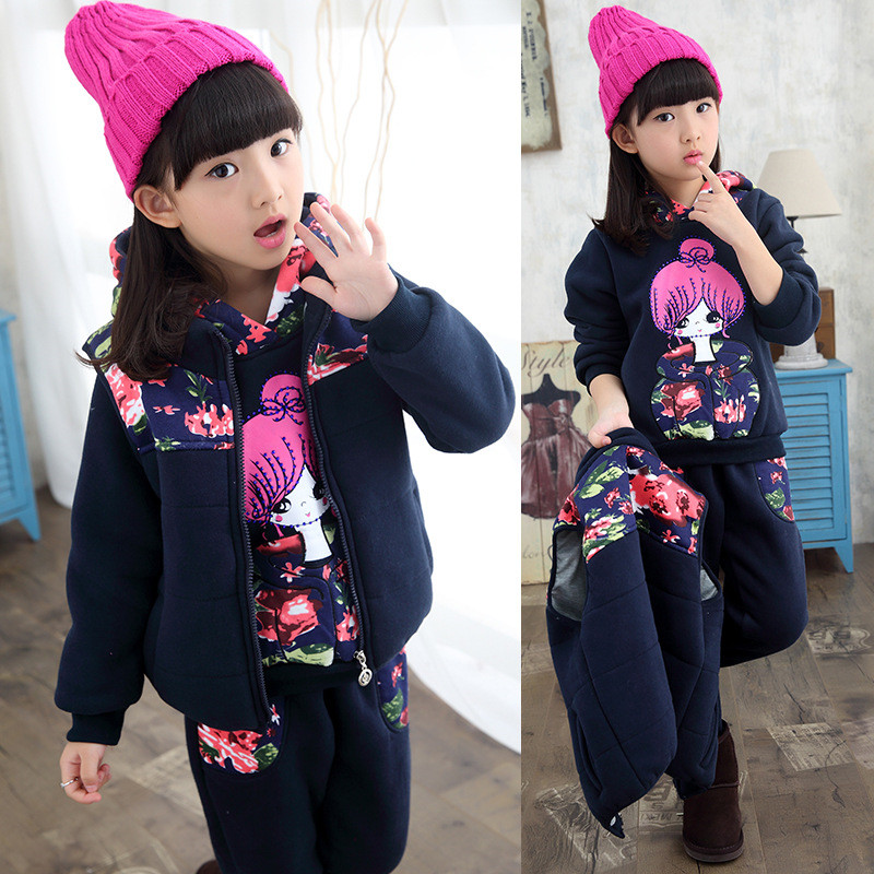 2017 Fashion Winter Children's Print Hoodie Trousers Warm Waistcoat Clothing Hot Girl Three-piece Suit Outfits New Kids Clothes