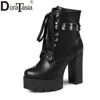 DORATASIA 2018 Large Size 33 43 Woman Motorcycles Boots Fashion Cool High Heels Ankle Boots Flatform women's Shoes Booties