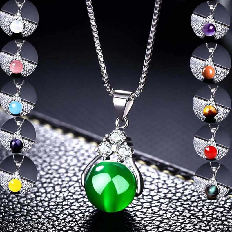 2019 moda natural pedra verde transferência bola contas pingente colares longo link corrente de cristal colares feminino jóias presentes