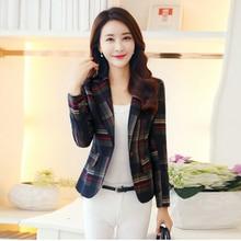 2018 Autumn Women Plaid Blazers And Jackets Suit Long Sleeve Work Wear Jacket Plus Size Female Casual Coat Feminino Outerwear