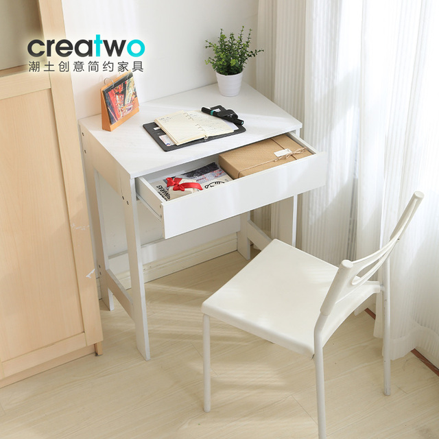Modern Stylish White Laptop Desk Bedside Table With Drawer 2 Styles For Choose