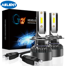 ASLENT 2PCS Mini Size LED H7 H4 H1 H11 H8 H9 Cold Fan Car Headlight 9005/HB3 9006/HB4 9012 CSP led Bulbs Auto Lamp Fog Light 12v цены онлайн