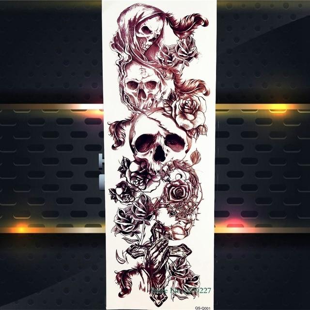 3d Death Skull Bracelet Chains Temporary Tattoo Stickers Men Women