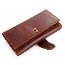 New Long Cash Purse Original Cowhide Genuine Leather Men's Wallets Multi Credit Card Holders Cell Phone Pocket
