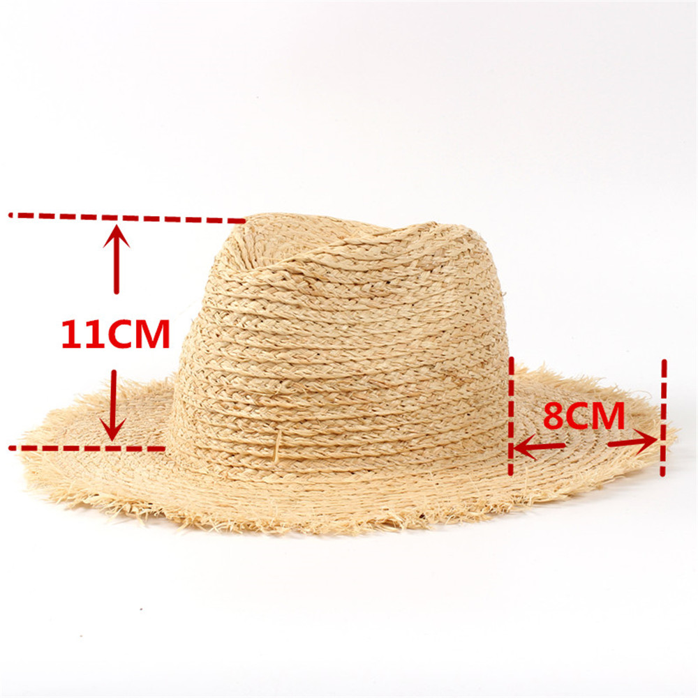 3120380d62d 100% Raffia Straw Summer Women Travel Beach Sun Hat For Elegant Lady Fedora  Floppy Wide Brim Panama Sunbonnet-in Sun Hats from Apparel Accessories on  ...