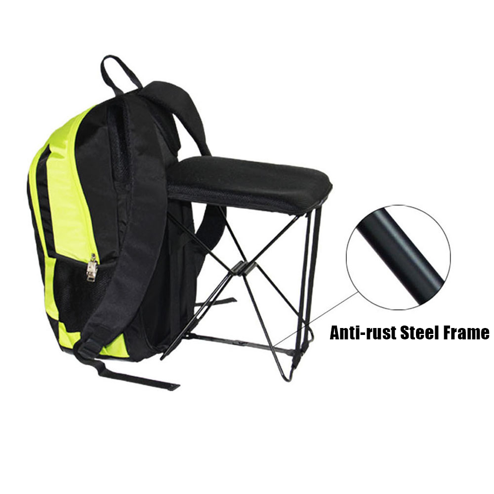 Outdoor Hiking Fishing 47L Camping Travel Backpack with Folding Chair Backpack Stool Chair Combo Gear Nylon