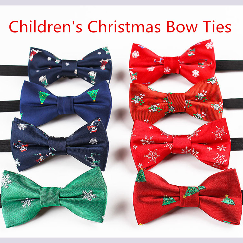 RBOCOTT Boys Christmas Bow Ties Snowflake Christmas Tree Pattern Bow Tie For Children Kids Gifts Red Blue Bowtie Size 9cm*4.5cm