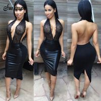 Nieuwe Mouwloze Stretchy Sexy Club Bandage Bodycon Jurk 2017 Vrouwen Black Lace Up Backless Jurken