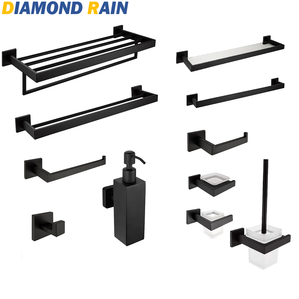 Us 819 45 Offblack Matte 304 Stainless Steel Bath Hardware Sets Square Modern Bathroom Accessories Wall Mounted Dr 02 In Bath Hardware Sets From