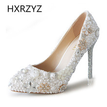 women shoes handmade fine with pointed high-heeled white crystal diamond wedding shoes bridal shoes Lady fashion high heels pump