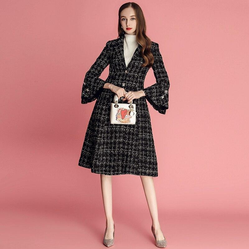 Runway Designer Winter Tweed Wolle Jacken und Mäntel Frauen 2019 Mode Neue Flare Hülse Lange Plaid Wolle Mantel Oberbekleidung - 3