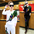 Casual Style Tracksuit Spring Winter Fashion Sportswear Women Two Piece Set Cotton Sequined Long Sleeve Tops and Pants Sets