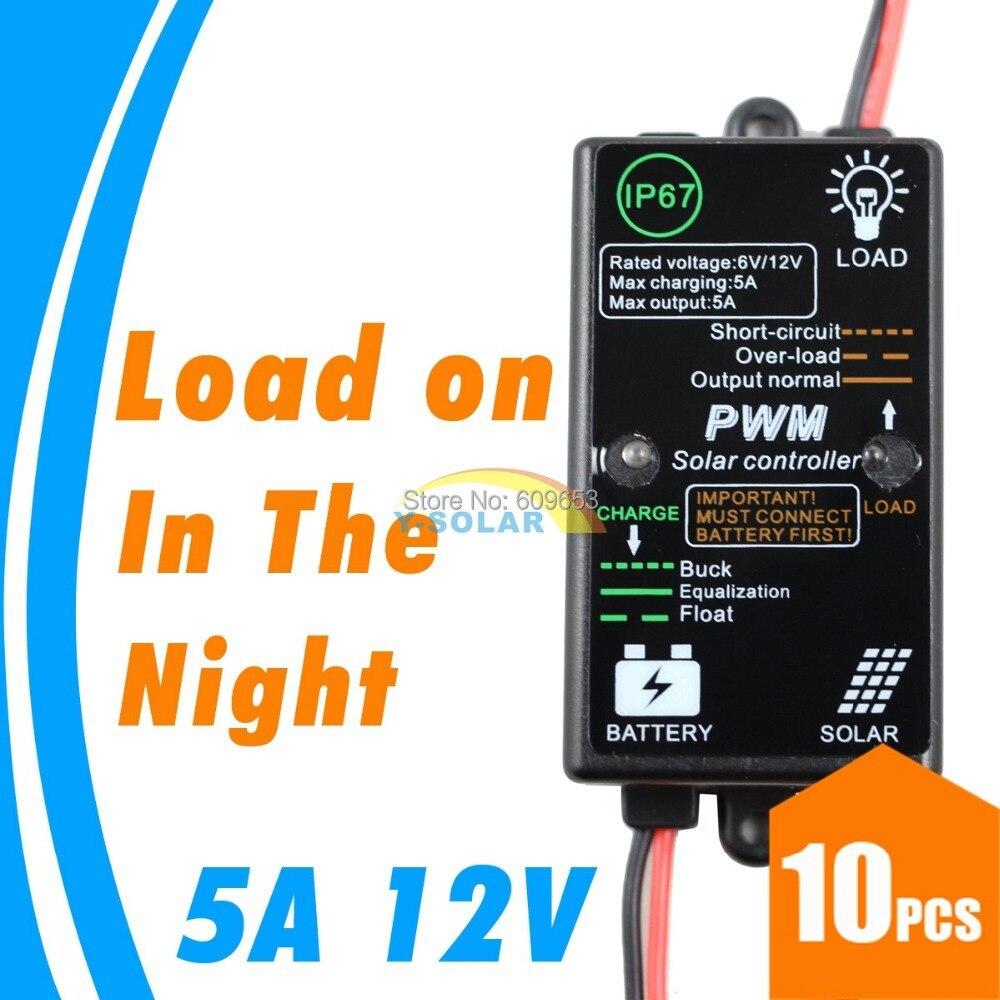 Φ_Φ10 unids lotes! mini 5A 5 amperios 12 V regulador de carga solar ...