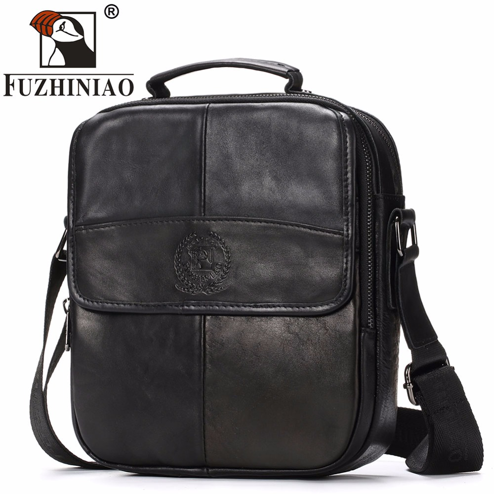 FUZHINIAO 2018 New Genuine Leather Men Bag Fashion Male Messenger Bags High Quality Small Business Crossbody Shoulder Handbags hot 2017 genuine leather bags men high quality messenger bags small travel black crossbody shoulder bag for men li 1611