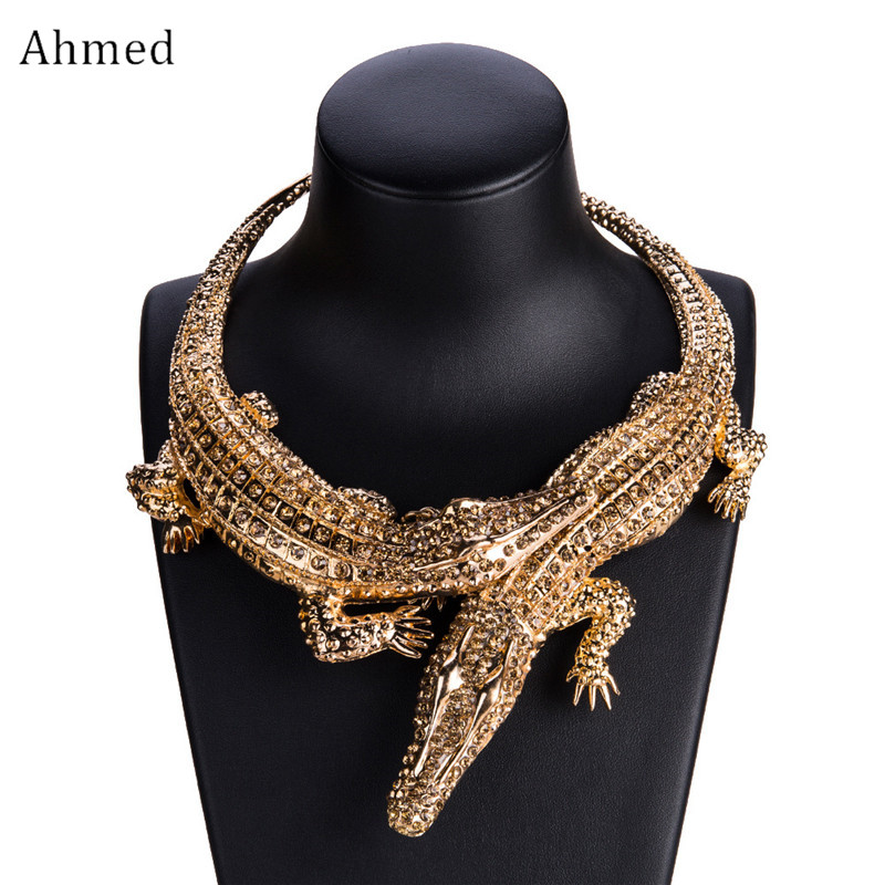 Ahmed New Design Exaggerated Punk Full Rhinestone Crocodile Necklace for Women Fashion Trend Statement Necklace Collar Bijoux graceful exaggerated rhinestone geometric necklace for women