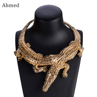 Ahmed New Design Exaggerated Punk Full Rhinestone Crocodile Necklace For Women Fashion Trend Statement Necklace Collar