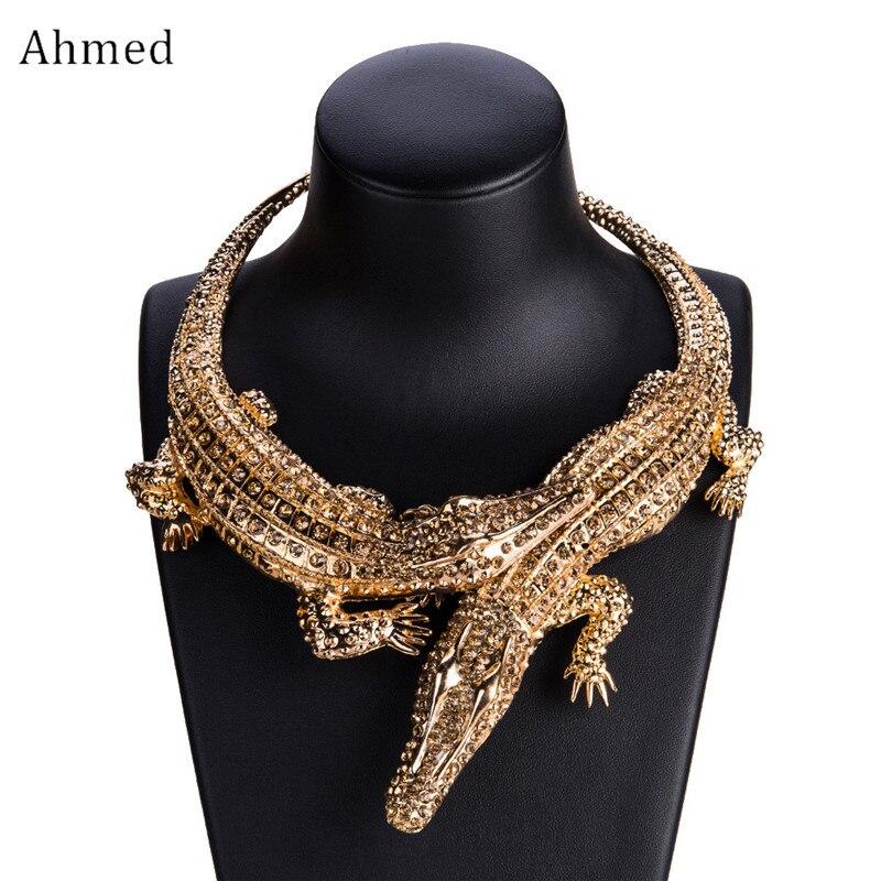 Ahmed nouveau Design exagéré Punk complet strass Crocodile collier pour les femmes mode tendance déclaration collier collier Bijoux