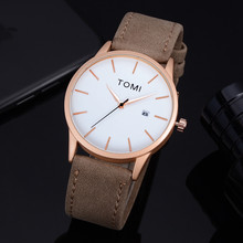 TOMI Men Watch Fashion Casual Bussines Retro Design Leather Round Band man watch men watches quartzo day date male clock