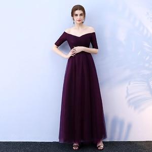 Image 2 - Beauty Emily Long Burgundy Cheap Bridesmaid Dresses 2020 A Line Off the Shoulder Half Sleeve Vestido da dama de honra