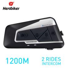 HEROBIKER 1200M BT Motorcycle Helmet Intercom Waterproof Wireless Bluetooth Moto Headset Interphone with FM Radio for 2 Rides