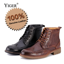 YIGER New Mens boots Genuine Leather Bullock shoe Man Martins Lace-up Western Round toe Spring/Autunm  0157