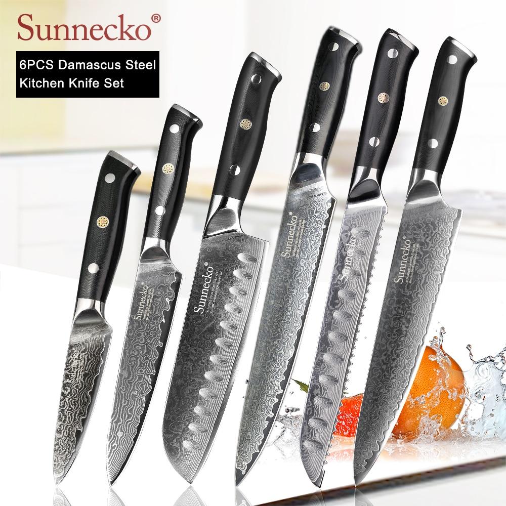 Cuchillo de Chef SUNNECKO Premium, cuchillos de cocina japoneses, afilados, Santoku, rebanadora, cuchilla de corte Damasco, mango G10