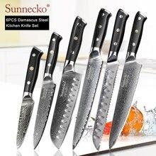 SUNNECKO 1-8 unids/set Chef cuchillo japonés cocina cuchillos afilados de Santoku cortar de cocina cuchillo Damasco herramienta de corte G10 manejar