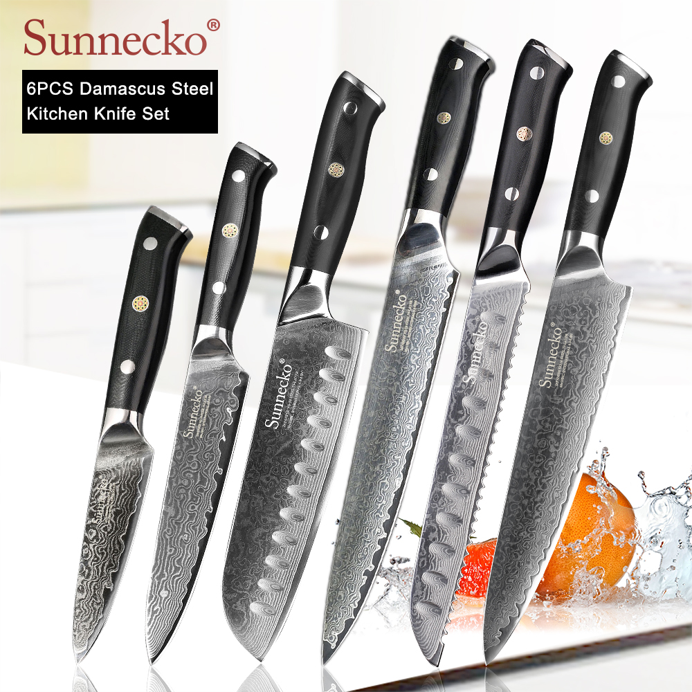 Sunnecko 프리미엄 요리사 나이프 일본 주방 나이프 샤프 유틸리티 santoku slicing paring cleaver 다마스커스 컷 나이프 g10 손잡이