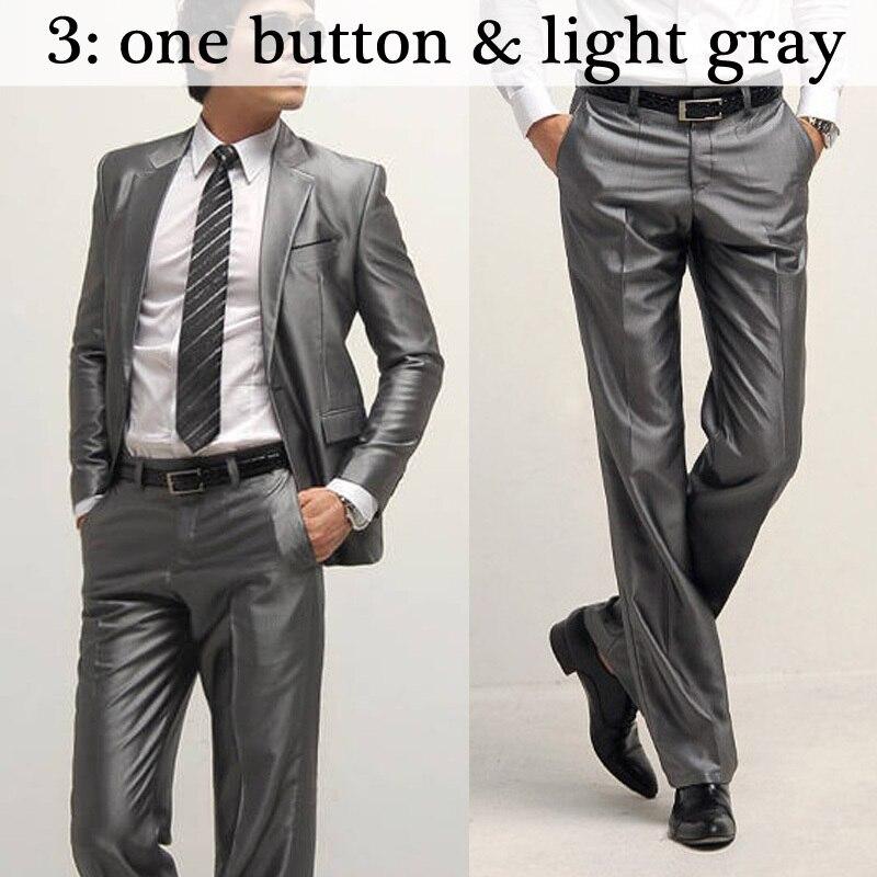 Для мужчин костюмы Тонкий Высокое качество смокинги Марка мужская деловая обувь модные Бизнес одежда высшего качества и штаны, лидер продаж,, B006 - Цвет: 3