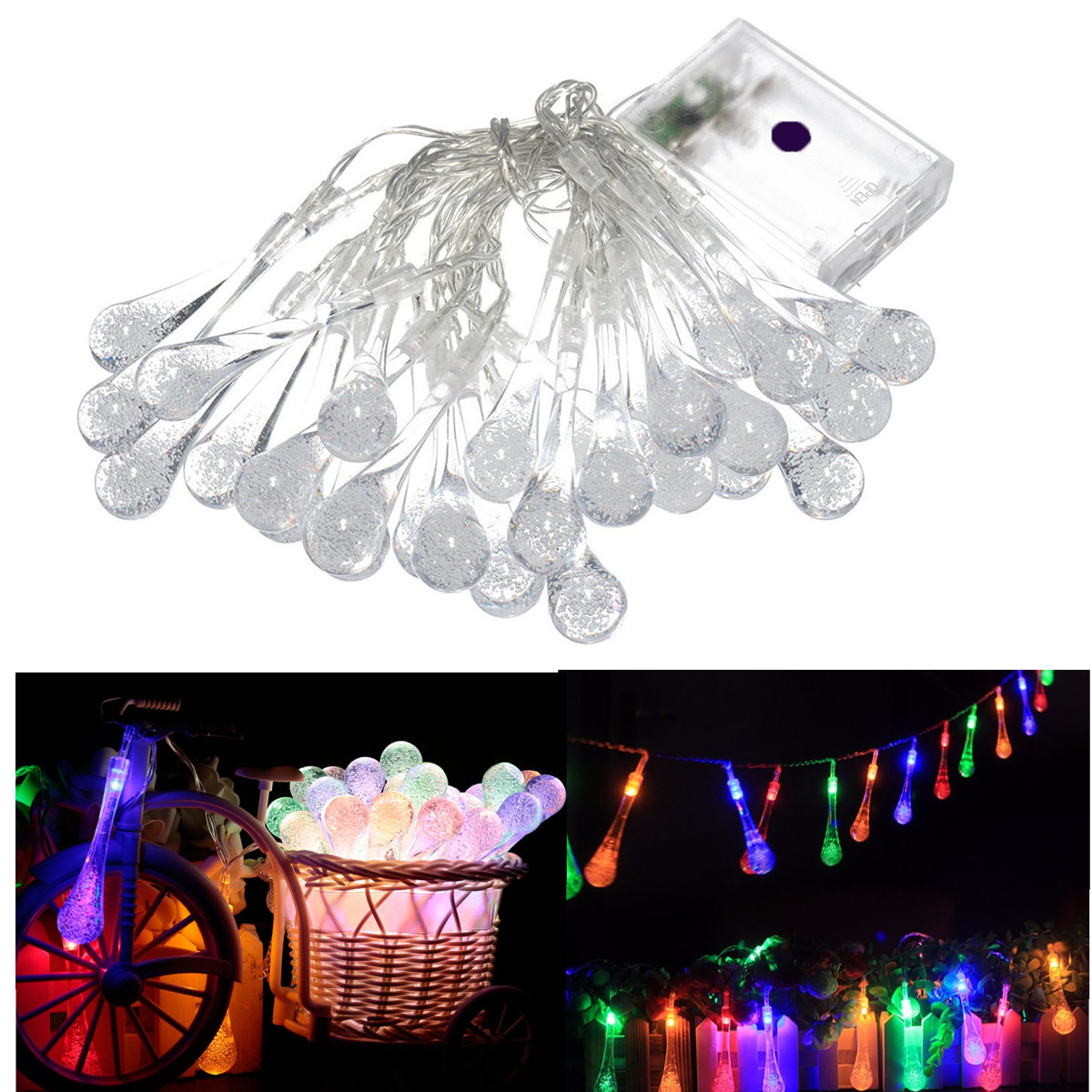 Approx. 3.2M Power saving 30 LED Battery Powered Raindrop Fairy String Light Outdoor Xmas Wedding Christmas Garden Party Decor