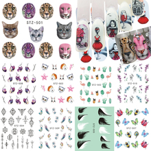 New Water Tattoo Animal Cat Flamingo Flower Full Red Transfer Sticker Manicure Nail Art Decoration Nail Accessory CHSTZ501-12