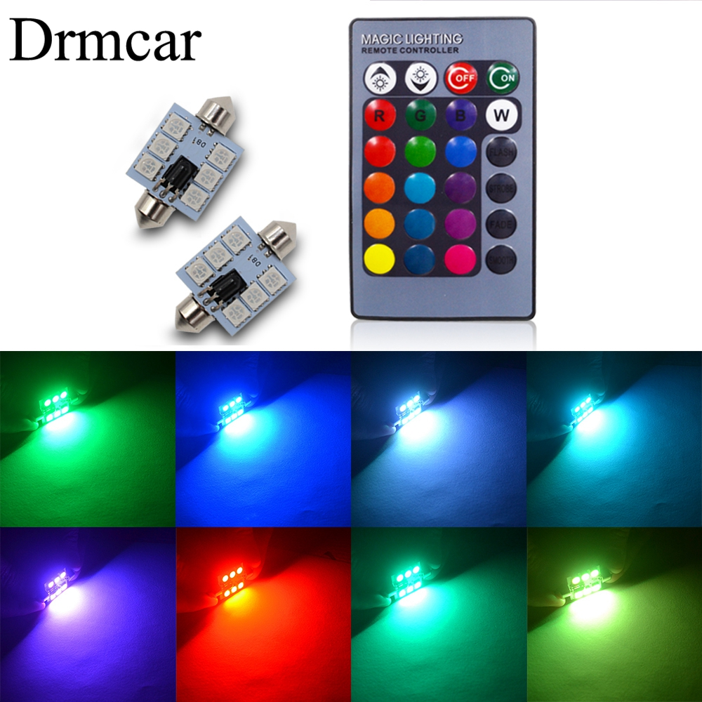 RGB 5050 6SMD Festoon Light C5w Dome  Car Led Auto Mobile  Remote Controlled Colorful Reading Lamp Roof Trunk Bulbs
