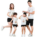 Family Clothing Sets Deer Printed Short-sleeve T-shirts +Solid Shorts Matching Outfits Clothes Mother Mom Daughter Father Son