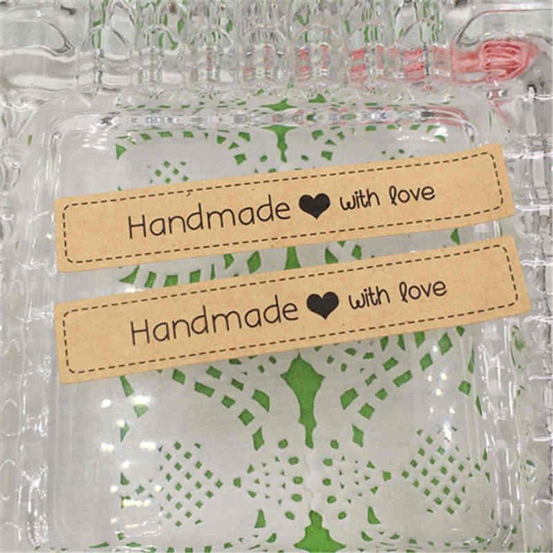 120Pcs 7.5*1.3 ซม.ทำด้วยมือ Love Self-adhesive สติกเกอร์กระดาษคราฟท์สติกเกอร์ซีลป้ายบรรจุสำหรับงานแต่งงาน Candy