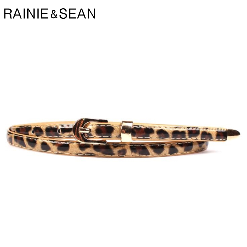 RAINIE SEAN Leather Belt Women Leopard Thin Belt Ladies Buckle For Belt Korean Fashion Female Waist Belt For Dresses