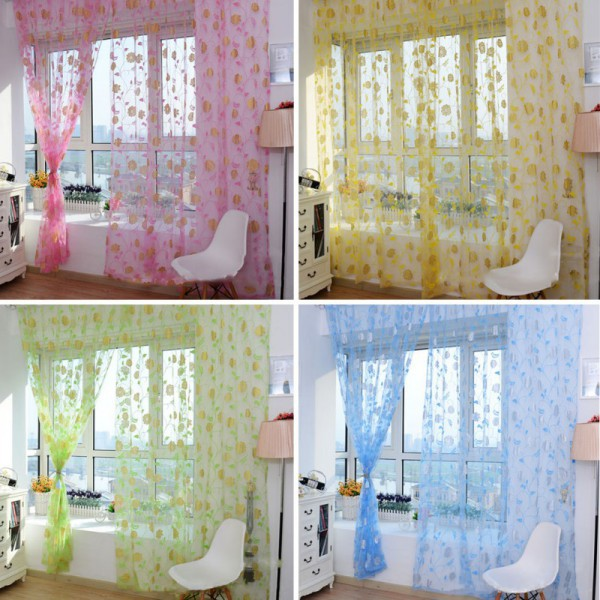 4 Colors Sheer Voile Door Curtains Window Room Divider Scarf Rose Flower Pattern