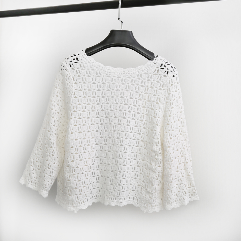 Crochet White Lace Hollow Out Knitted Cardigan Blouse 2