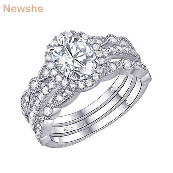 Newshe 3 Pcs Wedding Rings For Women Classic Jewelry 925 Sterling Silver Engagement Ring Set 1.8 Ct Oval Shape AAA CZ JR4669 - DISCOUNT ITEM  12% OFF All Category