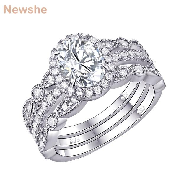 Newshe מוצק 925 כסף חתונת טבעת אירוסין סט לנשים סגלגל צורת AAA זירקונים אמנות דקו להקות תכשיטים קלאסיים
