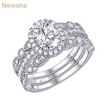 Newshe plata sólida 925 conjunto de anillo de compromiso de boda para mujer, circonitas de forma ovalada AAA, bandas de decoración artística, joyería clásica