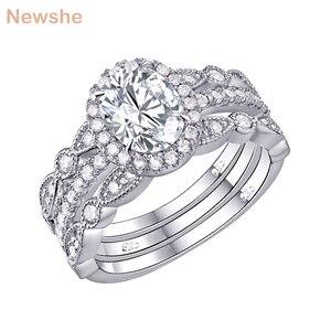 Image 1 - Newshe plata sólida 925 conjunto de anillo de compromiso de boda para mujer, circonitas de forma ovalada AAA, bandas de decoración artística, joyería clásica