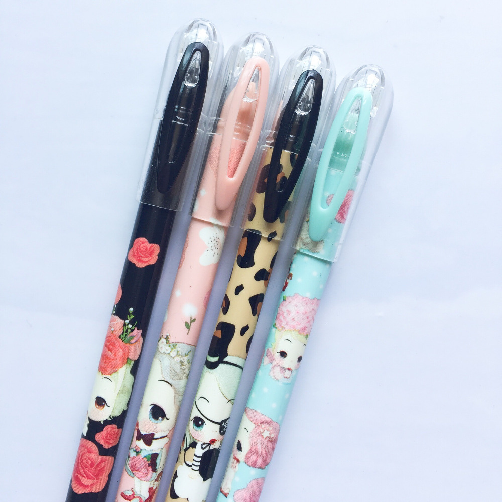 N18 3X Cute Lovely Pura Girl Gel Pen Signing Writing School Office Supply Student Stationery Kids Gift 0.35mm Black Ink x33 cute kawaii lifelike silicone carrot gel pen writing signing pen school office supply student stationery kids gift