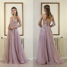 Verngo Long Sleeves  Evening Dress 2019 Tulle With Appliques Formal Dress Elegant Pink Gown Robe Longue fancy pink flower girl dress with appliques half sleeves knee length a line gown with ribbon bows for christmas 0 12 years old